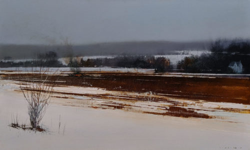"""SOLD """"The Last Day in March,"""" by David Lidbetter 18 x 30 - oil $2000 Unframed"""