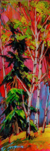 """SOLD """"1941,"""" by David Langevin 3 1/2 x 10 1/2 - acrylic, high-gloss finish $375 (3/4"""" panel with painted edges)"""