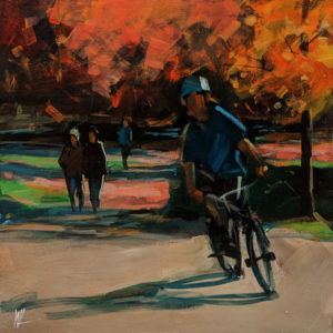 """SOLD """"Afternoon in Rocky Point Park,"""" by William Liao 10 x 10 - acrylic $450 (unframed panel with 1 1/2"""" edges) $600 in show frame"""