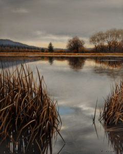 """SOLD """"Autumn Pond Reflections,"""" by Ray Ward 8 x 10 - oil $980 Unframed $1200 in show frame"""