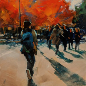 """SOLD """"Autumn Sunlight,"""" by William Liao 10 x 10 - acrylic $450 (unframed panel with 1 1/2"""" edges) $600 in show frame"""
