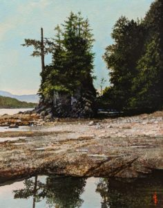 "SOLD ""Bamfield Sea Stack,"" by Alan Wylie 11 x 14 - acrylic $2120 Unframed"