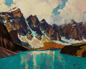 """SOLD """"The Beautiful Lake (Moraine Lake)"""" by Min Ma 8 x 10 - acrylic $845 Unframed $1050 in show frame"""