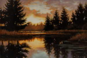 """SOLD """"Beaver Pond at Dusk,"""" by Ray Ward 4 x 6 - oil $625 Unframed $785 in show frame"""