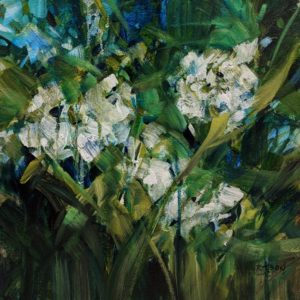 """""""Blue Blossoms,"""" by Janice Robertson 12 x 12 - acrylic $730 (thick canvas wrap)"""