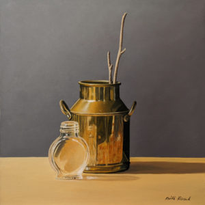 """SOLD """"Brass Can,"""" by Keith Hiscock 12 x 12 - oil $975 Unframed"""