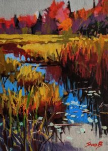 """SOLD """"Cat Tails,"""" by Mike Svob 5 x 7 - acrylic $470 Unframed $645 in show frame"""
