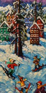 """SOLD """"Chalets in December,"""" by Rod Charlesworth 6 x 12 - oil $750 Unframed $960 in show frame"""