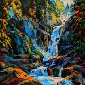 """SOLD """"Chutes,"""" by David Langevin 10 x 10 - acrylic $625 Unframed $865 in show frame"""