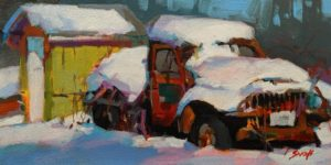 """SOLD """"A Cold Wet Blanket,"""" by Mike Svob 6 x 12 - acrylic $685 Unframed $910 in show frame"""