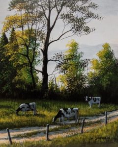 """SOLD """"Cow Path,"""" by Bill Saunders 8 x 10 - acrylic $650 Unframed"""