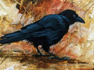 """SOLD """"Crow II,"""" by Janice Robertson 6 x 8 - acrylic $350 Unframed $520 in show frame"""