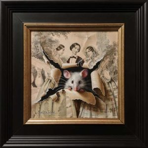 """SOLD """"Les demoiselles"""" (The Bridesmaids) by Marina Dieul 6 x 6 plus frame (shown) - oil on 19th century fashion etching USD $1400 Framed (approx. $1800 CAD Framed)"""