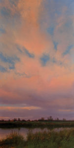 """SOLD """"Eastern Sky,"""" by Renato Muccillo 8 x 16 - oil $4600 in hand-built show frame"""