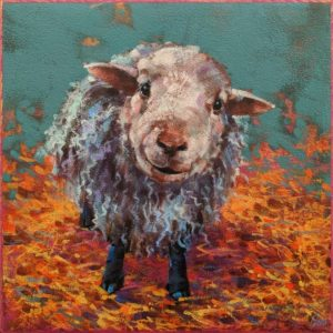 """SOLD """"Ewe Hoo,"""" by Angie Rees 10 x 10 - acrylic $675 (unframed panel with 1 1/2"""" edges)"""