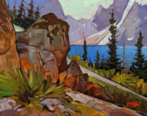 """SOLD """"Glacial Lake Summer's Day,"""" by Graeme Shaw 11 x 14 - oil $735 Unframed $990 in show frame"""