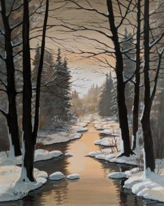 """SOLD """"Golden Brook,"""" by Bill Saunders 8 x 10 - acrylic $650 Unframed $870 in show frame"""