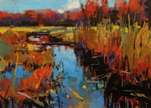 """SOLD """"Haliburton,"""" by Mike Svob 5 x 7 - acrylic $470 Unframed $645 in show frame"""