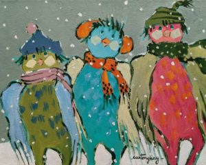 """SOLD """"Happy to Stay Here During the Winter..."""" by Claudette Castonguay 8 x 10 - acrylic $340 Unframed"""