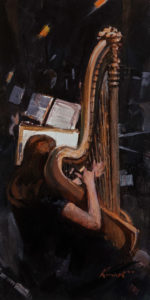 """Harpist,"" by Clement Kwan 6 x 12 - acrylic $1100 Unframed"