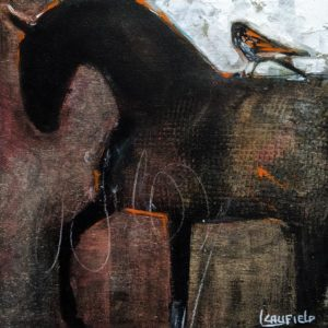 """SOLD """"Horse and Hawk II,"""" by Lee Caufield 8 x 8 - acrylic $360 (unframed panel with 1 1/2"""" edges)"""