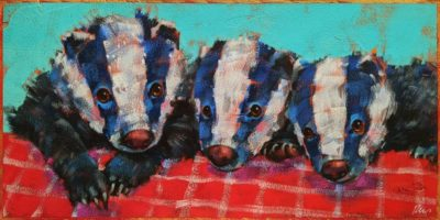 """SOLD """"Hunger Pains,"""" by Angie Rees 6 x 12 - acrylic $450 (unframed panel with 1 1/2"""" edges)"""