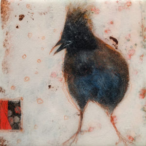 """SOLD """"Indigo and Copper,"""" by Nikol Haskova 6 x 6 - mixed media, high-gloss finish $380 (unframed panel with thick edges)"""