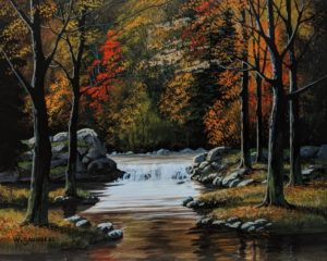 """SOLD """"In the Forest,"""" by Bill Saunders 8 x 10 - acrylic $650 Unframed"""
