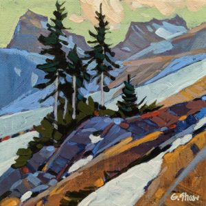 """SOLD """"Kluane Mt. Slope,"""" by Graeme Shaw 6 x 6 - acrylic $440 Unframed $590 in show frame"""
