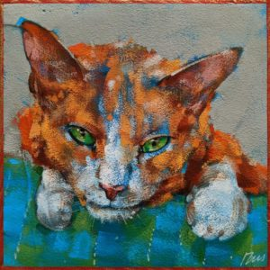 """SOLD """"Lazy Ginger: Leroy,"""" by Angie Rees 6 x 6 - acrylic $225 (unframed panel with 1 1/2"""" edges)"""