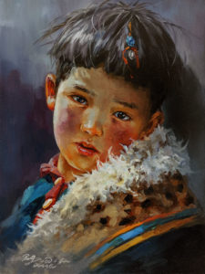 """SOLD """"Listening to Mom,"""" by Donna Zhang 9 x 12 - oil $1085 Unframed $1340 in show frame"""