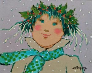 """SOLD """"Marie-Noël..."""" by Claudette Castonguay 8 x 10 - acrylic $340 Unframed $460 in show frame"""
