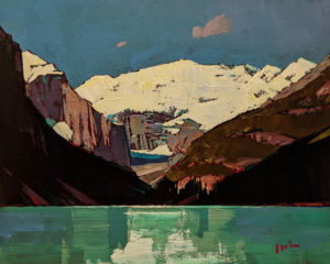 """SOLD """"Morning Shadow (Lake Louise)"""" by Min Ma 8 x 10 - acrylic $845 Unframed $1050 in show frame"""