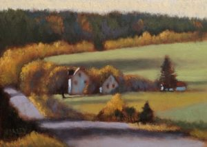 """SOLD """"Morning Shadows,"""" by Paul Healey 5 x 7 - oil $275 Unframed $450 in show frame"""