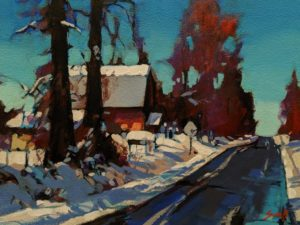 """SOLD """"The Morning Thaw (Langley),"""" by Mike Svob 9 x 12 - acrylic $835 Unframed $1085 in show frame"""