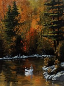 """SOLD """"October Journey,"""" by Bill Saunders 6 x 8 - acrylic $500 Unframed $670 in show frame"""