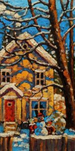 """SOLD """"Our Little Front Yard,"""" by Rod Charlesworth 6 x 12 - oil $750 Unframed $850 in show frame"""