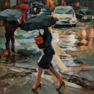 """SOLD """"Passing By,"""" by William Liao 10 x 10 - acrylic $450 (unframed panel with 1 1/2"""" edges) $600 in show frame"""