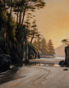 """SOLD """"Primeval Passage (Study)"""" by Ray Ward 7 x 9 - oil $880 Unframed $1100 in show frame"""