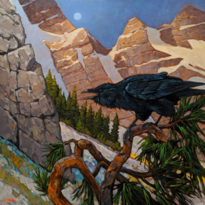 """""""Raven Moon,"""" by Graeme Shaw 36 x 36 - oil $4185 (artwork continues onto edges of wide canvas wrap)"""