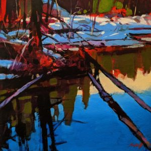 "SOLD ""A Reflecting Pond,"" by Mike Svob 10 x 10 - acrylic $800 Unframed"