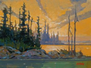 """SOLD """"Russell Lake, N.W.T."""" by Graeme Shaw 9 x 12 - oil $580 Unframed $720 in show frame"""