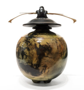 """SOLD Vase (239) by Geoff Searle pit-fired pottery – 10"""" (H) $495"""