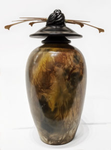 """Vase (240) by Geoff Searle pit-fired pottery – 10 1/2"""" (H) $475"""