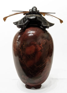 """SOLD Vase (241) by Geoff Searle pit-fired pottery – 9 1/2"""" (H) $465"""