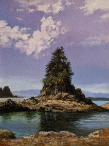"""SOLD """"Sea Stack,"""" by Alan Wylie 9 x 12 - oil $1750 Unframed"""