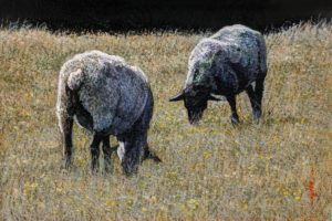 """SOLD """"Sheep Shapes,"""" by Alan Wylie 6 x 9 - acrylic $1100 Unframed $1300 in show frame"""