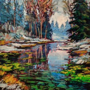 """SOLD """"Smaller Water,"""" by David Langevin 8 x 8 - acrylic $475 Unframed $630 in show frame"""