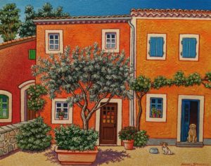 "SOLD ""A Small Village in Southern France,"" by Michael Stockdale 11 x 14 - acrylic $610 Unframed"