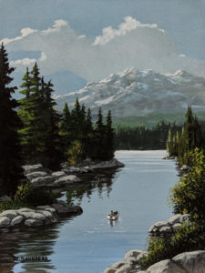 """SOLD """"Snow-capped Vista,"""" by Bill Saunders 6 x 8 - acrylic $500 Unframed $610 in show frame"""